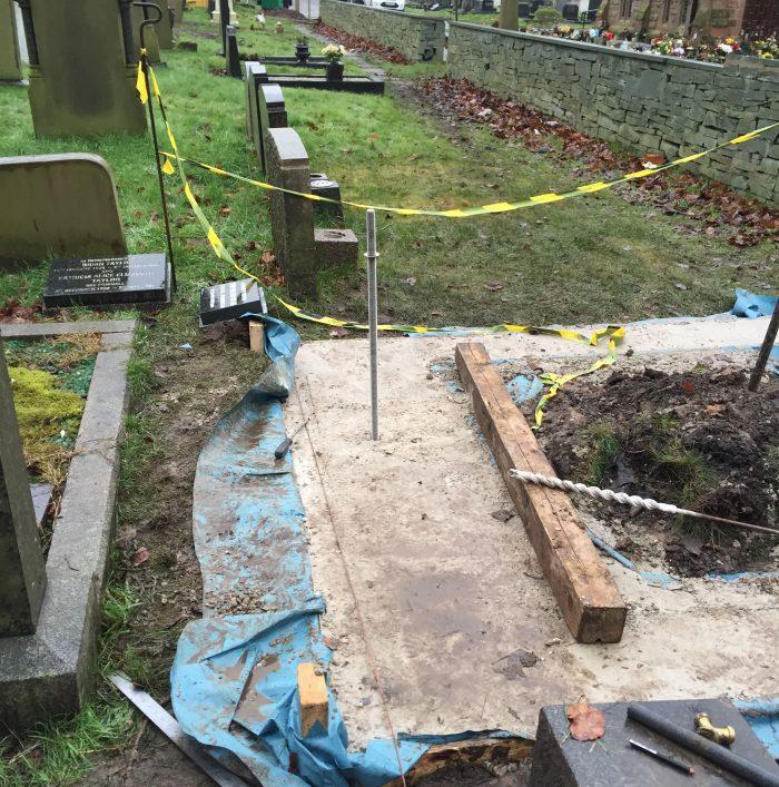 Grave being restored