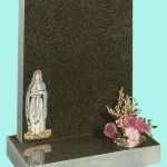 Polished dark grey granite memorial