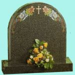 traditional headstone with coloured detail