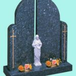 Gates of heaven style memorial with Jesus figurine
