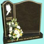 Beautiful split headstone with ornate engraving