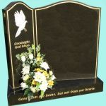 Beautiful split headstone with ornate engraving