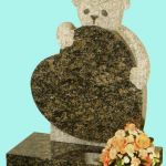 All polished Sapphire blue granite teddy bear clutching heart headstone