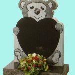 Teddy bear heart shaped gravestone