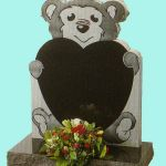 Teddy bear heart shaped gravestone