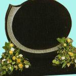 Black Granite Oval shaped gravestone