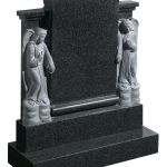 Scroll effect headstone with angel figurines
