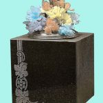 Black Memorial vase block shape with carved details
