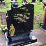 scroll gravestone black