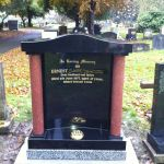 red and black headstone