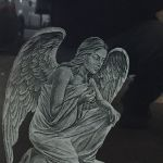 winged angel headstone etching
